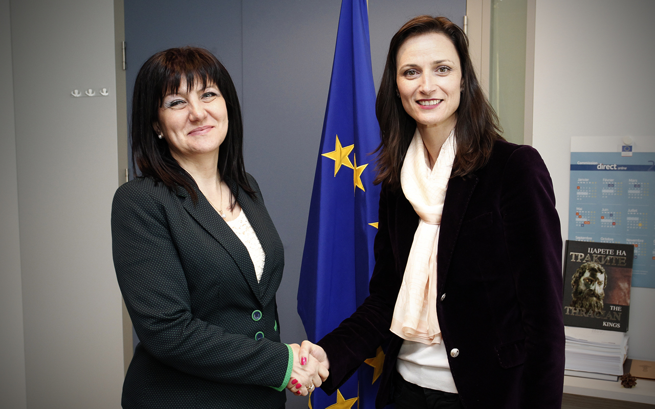 Speaker of Parliament Tsveta Karayancheva and Bulgarian European Commissioner for Digital Economy and Society Mariya Gabriel have a working meeting
