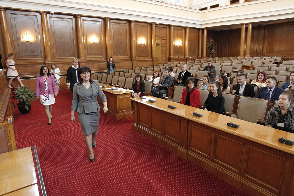 The President of the National Assembly Tsveta Karayancheva handed honorary certificates to the volunteers who assisted in the events of the Parliamentary dimension of the first Bulgarian Presidency of the EU Council